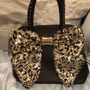 Betsey Johnson cheetah print sequin bow purse